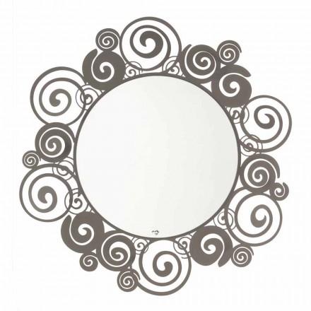 Cirkulær væg spejl af moderne design i jern fremstillet i Italien - Moira