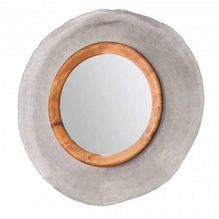 Moderne vægspejl i metal og teak Monno