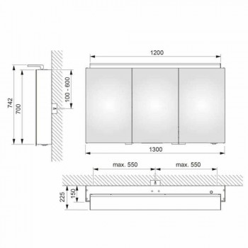 Moderne 3-dørs vægskabs spejl med indvendige hylder - Bramo