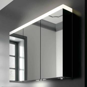 3 dørs vægopbevaringsspejl i sølvlakeret aluminium - Alfio