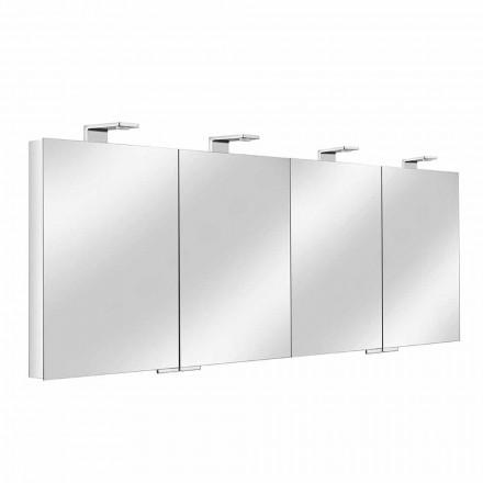 Spejlbeholder med 4 krystaldøre med 12 hylder og 4 LED-lys - Maxi