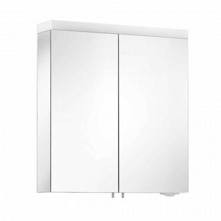 Spejl med 2 døre i sølvlakeret aluminium, moderne Alfio