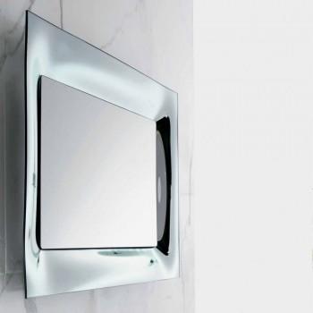 Badeværelse spejl ramme smeltet glas sølv moderne design Arin