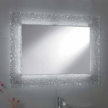 Spejl moderne badeværelse med dekorative glas ramme og LED lyser Tara