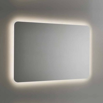 Afrundet badeværelsesspejl med LED-baggrundsbelysning Made in Italy - Pato