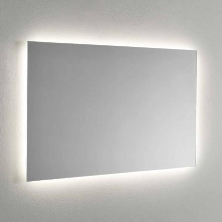 Vægspejl med LED-baggrundsbelysning på 4 sider Made in Italy - Romio