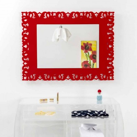 Spejl rød mur med dekorative macramé Tonya lavet i Italien