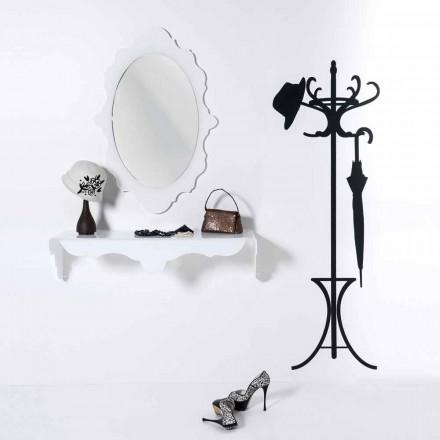 hvid væg spejl design Joy ramme dekoreret, lavet i Italien