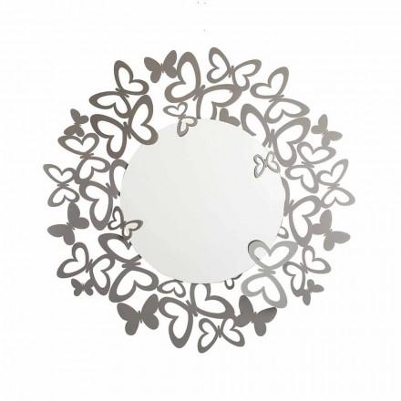 Cirkulær væg spejl af moderne design i jern fremstillet i Italien - Stelio