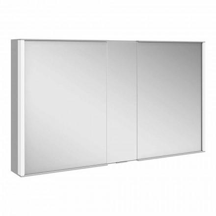 Moderne vægspejl med 3 døre i sølvlakeret aluminium - dæmon
