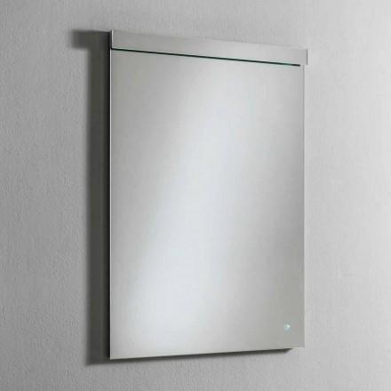 Vægspejl med integreret LED-lys i rustfrit stål Fremstillet i Italien - Tuccio
