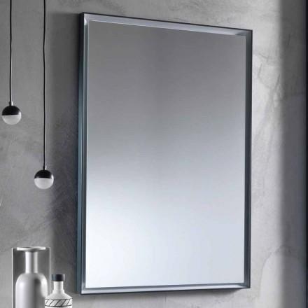 Vægspejl med aluminiumsramme og LED-lys Fremstillet i Italien - Chik