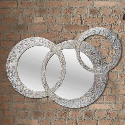 Design væg spejl i sølv blad lavet i Italien Cortina