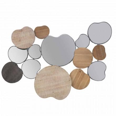 Vægspejl i moderne design i træ og jern - Ortensio