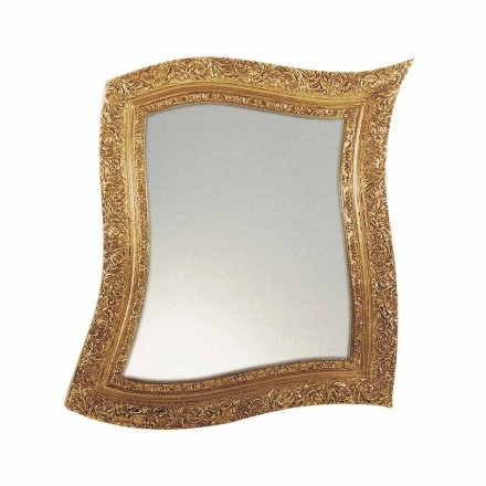 Vægspejl i barok stil i jernguld og sølv fremstillet i Italien - Rudi