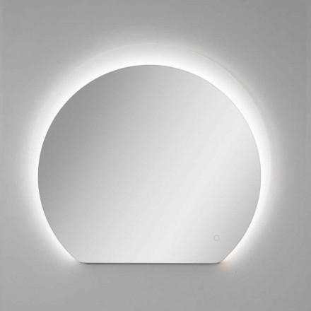 Moderne vægspejl med sandblæst detalje og LED Made in Italy - Rialto