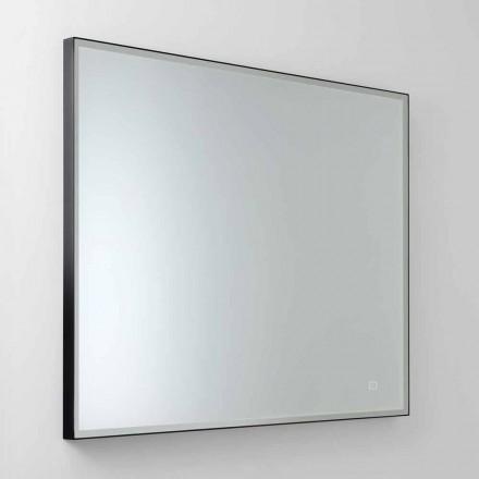 Firkantet spejl med LED i satinglas Fremstillet i Italien - Mirro