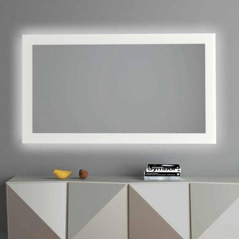 Bagbelyst vægspejl med sandblæst ramme fremstillet i Italien - Edigio
