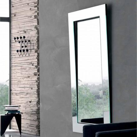 Rektangulær væg spejl med skråt stel lavet i Italien - Salamina