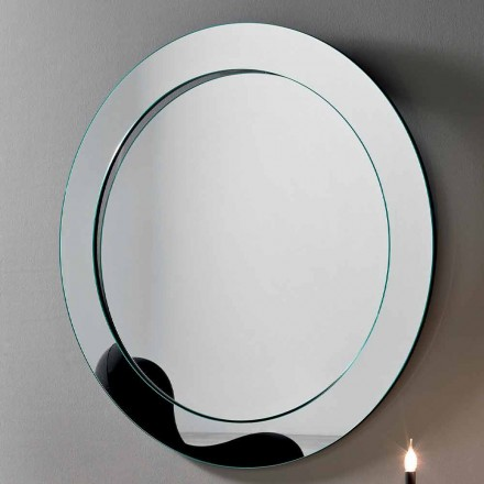 Rundt væg spejl med skrå ramme lavet i Italien - Salamina