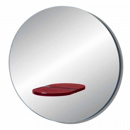 Rundt væg spejl med farvet glashylde fremstillet i Italien - Eliza