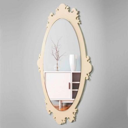 Vægspejle i vintage brun trædesign med ramme - Giangio