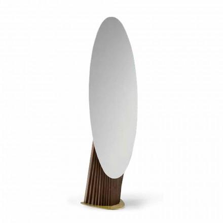Luksus gulvspejl i asketræ og metal fremstillet i Italien - Cuspide