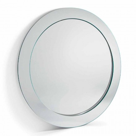 Moderne runde fritstående spejl med skrå ramme lavet i Italien - Salamina