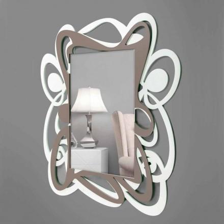 Stort moderne design hvidt og beige dekorativt væg spejl - Bocchio