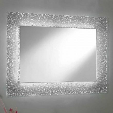 Dekorativt vægspejl Rektangulært design i glas og LED-lys - Attimo