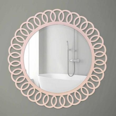 Stort væg spejl i dekorativt og moderne design i lyserødt træ - krone