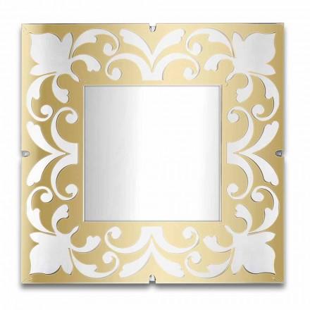 Firkantet spejlramme i plexiglas guld, bronze, sølv design - Foscolo
