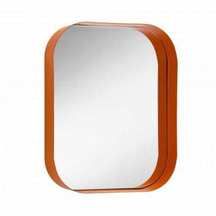 Afrundet rektangulært spejl, metalramme fremstillet i Italien - Alexandra