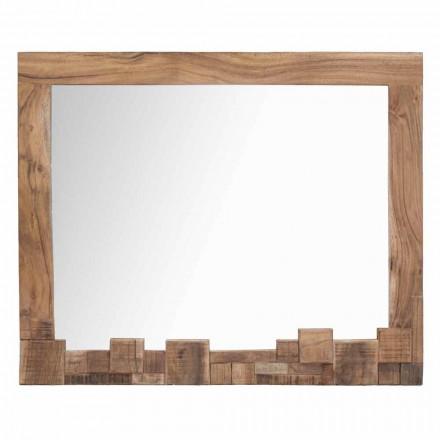 Moderne rektangulær vægspejl med akacietræstel - Eloise