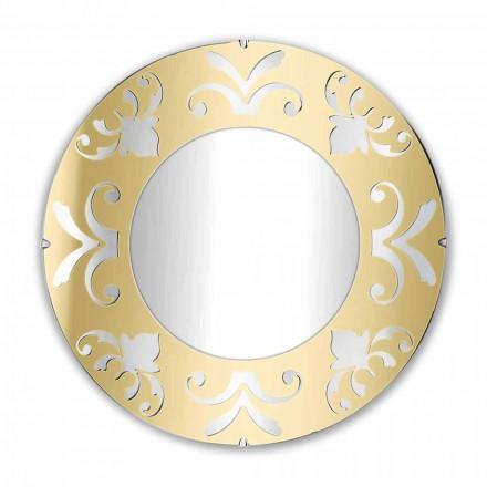 Rundt design spejl i guld sølv eller bronze plexiglas med ramme - Foscolo