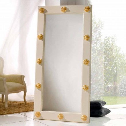 Lodret spejl gulv / væg med Abel dekorationer, håndlavede