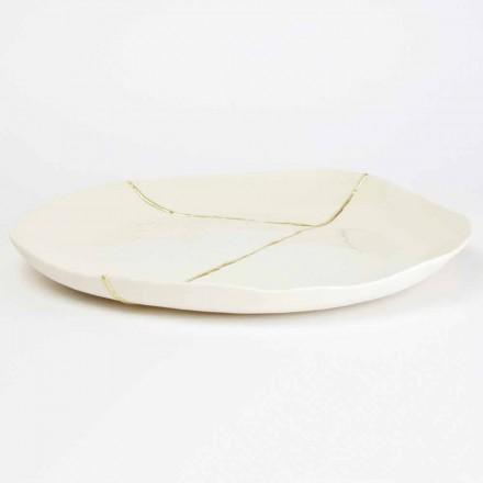 Rund betjent bakke i hvid porcelæn og bladguld design - Cicatroro
