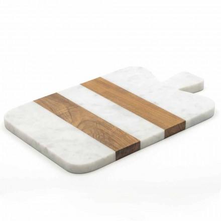 Hvid Carrara marmor og træ lavet i Italien Design Skærebræt - Evea