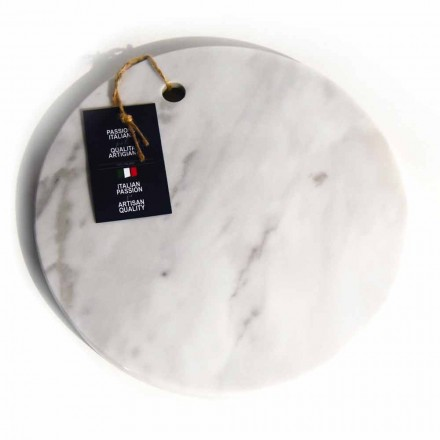 Rundt design hvid Carrara marmor skærebræt fremstillet i Italien - Masha