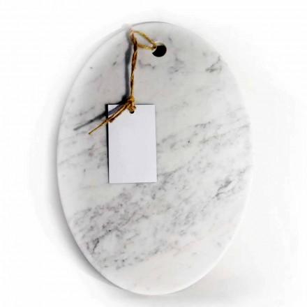 Moderne ovalt skærebræt i hvid Carrara marmor fremstillet i Italien - Masha