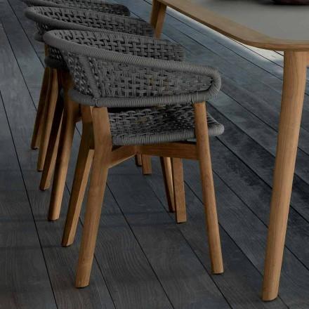 Talenti Moon stol i naturlig teak til have design lavet i Italien
