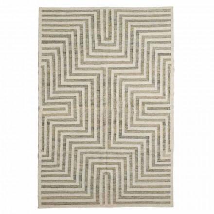 Moderne uld og bomuld geometrisk mønstret stue tæppe - Carioca