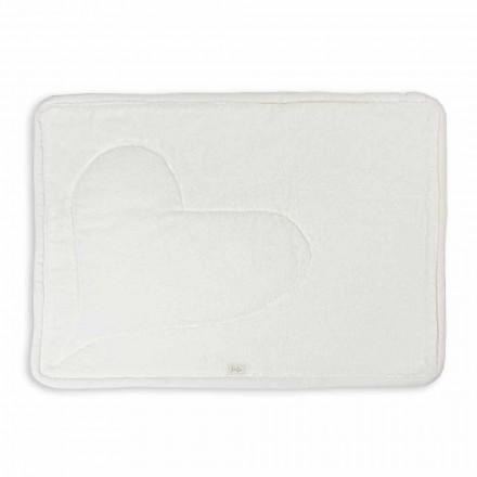 Naturligt hvidt bomulds badekar tæppe med hjerte dekoration - Sullivan