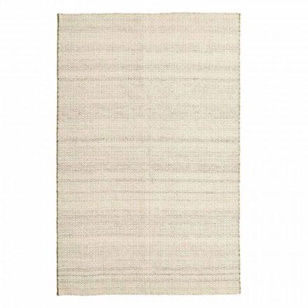 Håndvævet stue tæppe i uld og bomuld moderne design - nitte