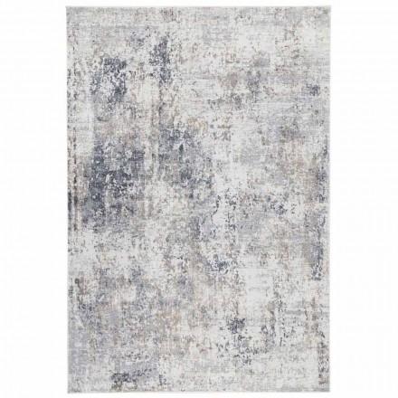 Design beige tæppe med tegning i viskose og polyester - Occitania