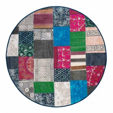Rund etnisk tæppe i farvet bomuldsstof - fiber