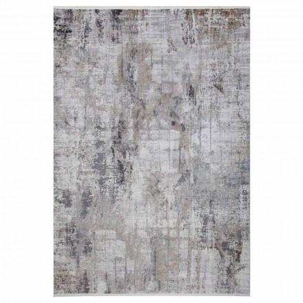 Skridsikkert tæppe i grå beige viskose og akril med tegning - præsident