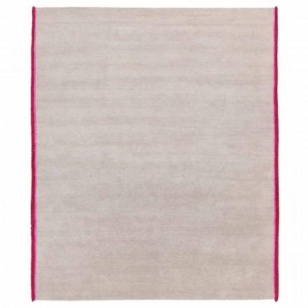 Tæppe i moderne design i viskose og bomuld med farvet kanting lavet af silke - Garbino