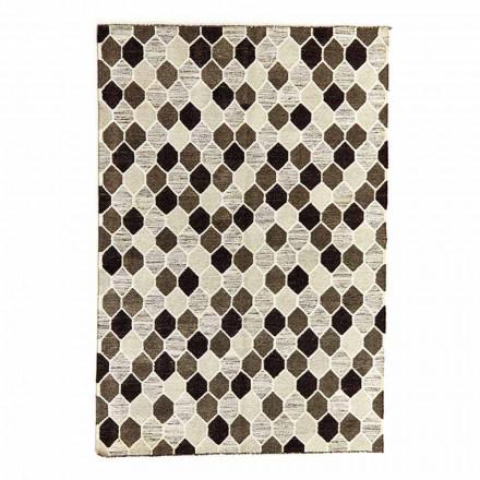 Tæppe med moderne design med geometrisk mønster i uld og bomuld - Tapioca