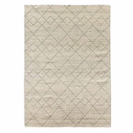 Moderne stue tæppe håndvævet i uldgeometrisk design - Geome